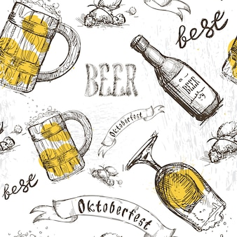 Vaso cerveza patrones sin fisuras festival oktoberfest