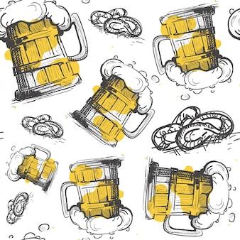 Vaso de cerveza de patrones sin fisuras