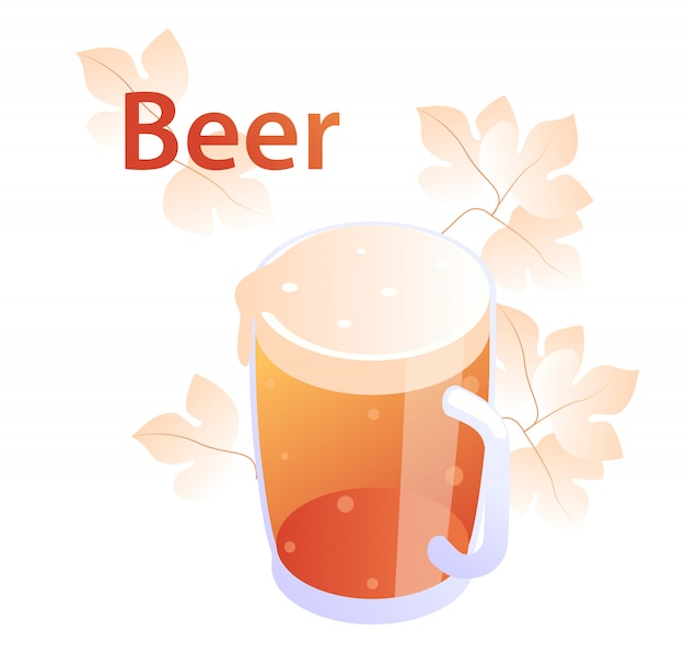 Vaso de cerveza en perspectiva isométrica.