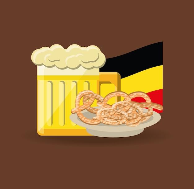 Vaso de cerveza y pretzels