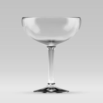 Vaso de cóctel transparente sauser vacío