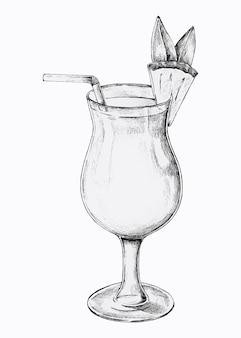 Vaso dibujado a mano de bebida cóctel de piña