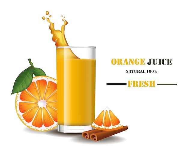 Un vaso de jugo de naranja fresco con ilustraciones realistas de salpicaduras se burlan