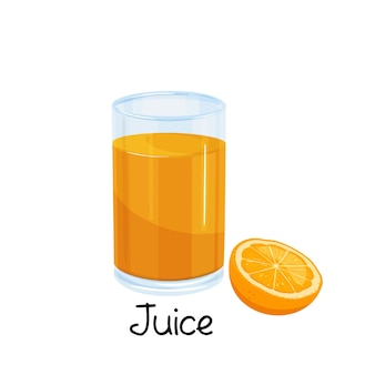 Vaso de jugo de naranja y rodaja de naranja, icono de bebida con fruta.