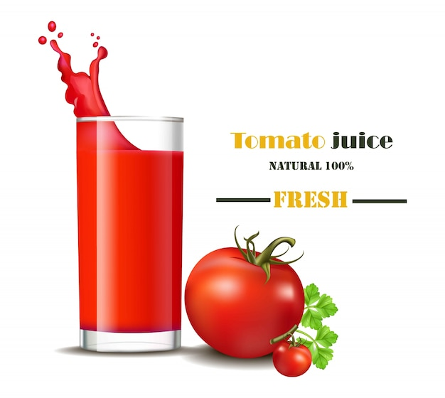 Un vaso de jugo de tomate fresco con salpicaduras