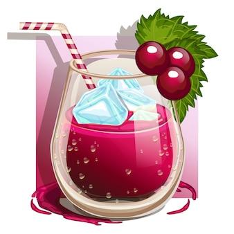Vaso de jugo de uva 100% con frutas aisladas