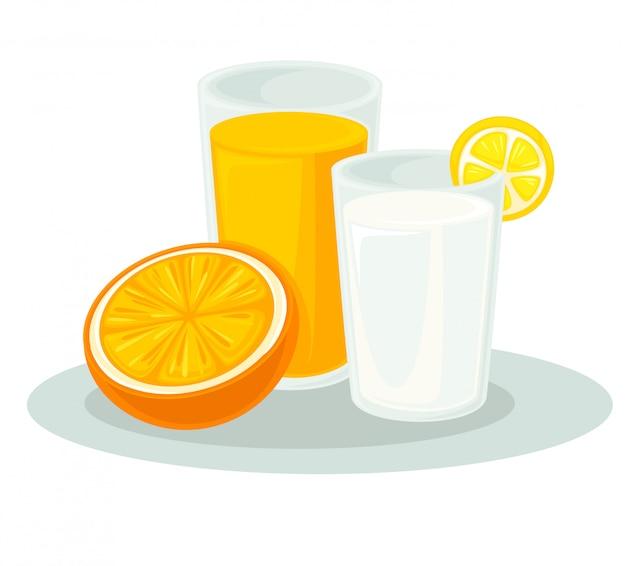 Vaso de leche y jugo de naranja.