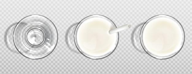 Vaso de leche con vista superior de paja de papel