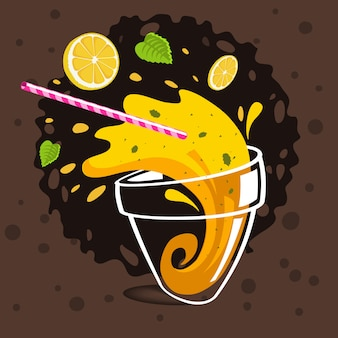 Vaso de limonada derramada haciendo salpicaduras volando limones en rodajas,