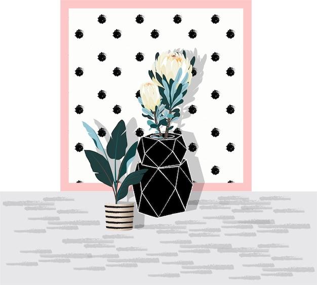 Un vaso negro de vector jar y flor