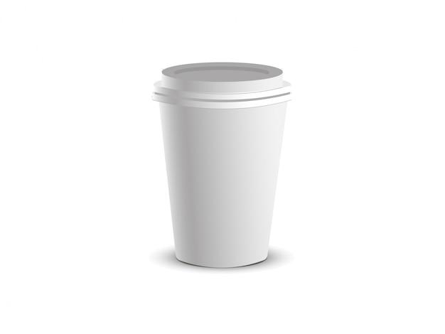 Vaso de papel blanco con tapa