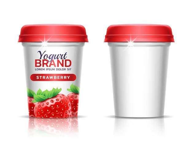 Un vaso de plástico con tapa para productos lácteos.