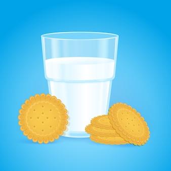 Vaso realista con leche y galletas redondas.