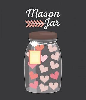 Vaso de tarro de masón con corazones y etiqueta colgando