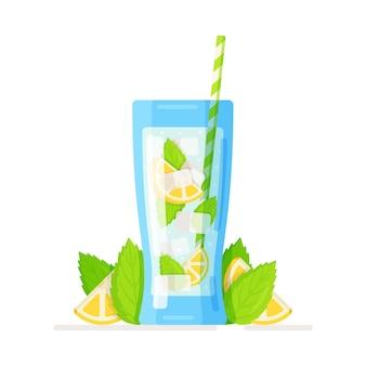 Vaso transparente con una copa de cóctel de limón agrio de lima cítrica recién exprimida y jugo de limón con una pajita
