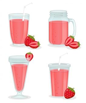 Vaso de vidrio con bebida de fresa con fruta