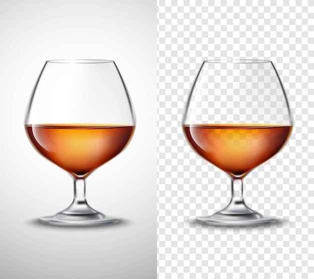 Vaso de vino con banners transparentes de alcohol