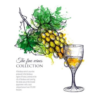 Vaso de vino blanco con uvas de rama