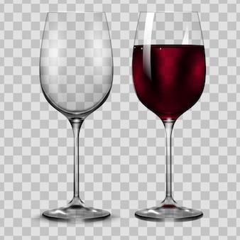 Vaso de vino tinto de transparencia vacía y completa.