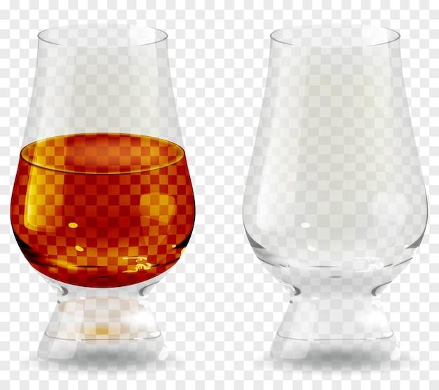 Vaso de whisky icono transparente realista de vidrio. ilustración de vector de vidrio de bebida de alcohol