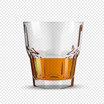 Vaso de whisky o ron aislado sobre fondo transparente