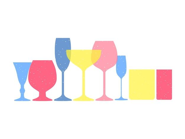 Vasos de alcohol de varias formas en colores pastel