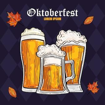 Vasos de cerveza con diseño de hojas, tema de celebración y festival de oktoberfest en alemania
