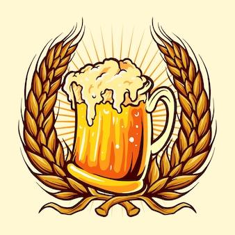 Vasos cerveza insignia trigo ilustraciones