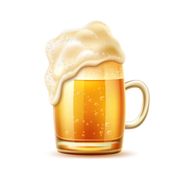 Vasos de cerveza realistas con espuma espesa