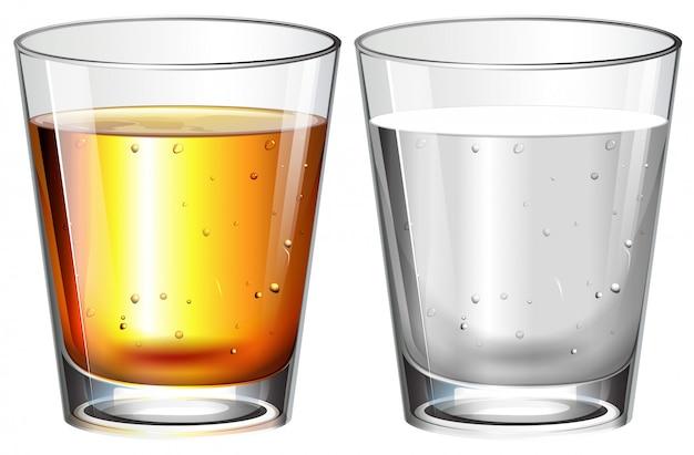 Vasos de agua y whisky
