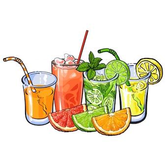 Vasos de jugo de frutas
