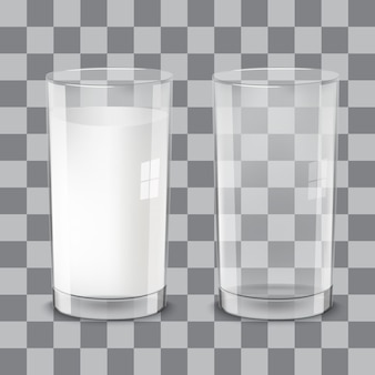 Vasos de leche transparentes realistas