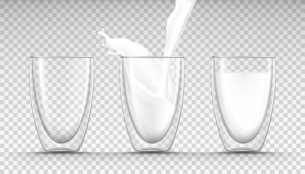 Vasos de leche vacíos, llenos y fluidos y un chorrito de leche en estilo realista.