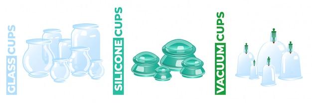 Vasos de masaje de vidrio, silicona y vacío aislados en blanco
