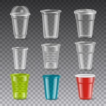 Vasos de plástico coloridos desechables vacíos con y sin tapas conjunto realista aislado en la ilustración de fondo transparente