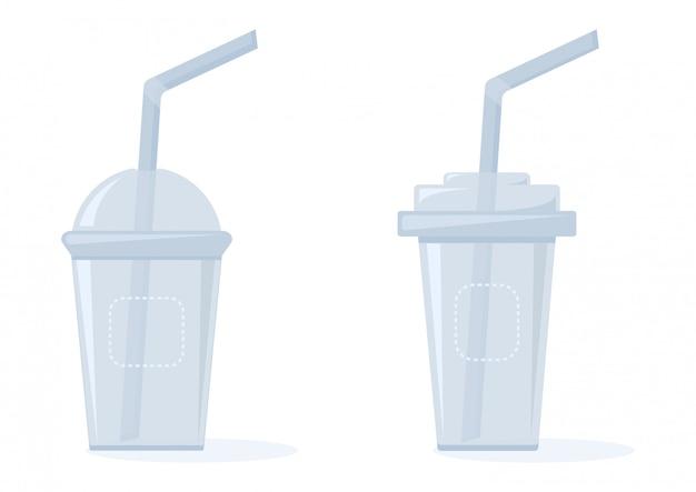 Vasos de plástico para líquidos con pajitas, ilustración