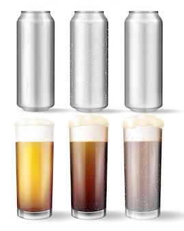 Vasos de vidrio y latas de aluminio con una cerveza.