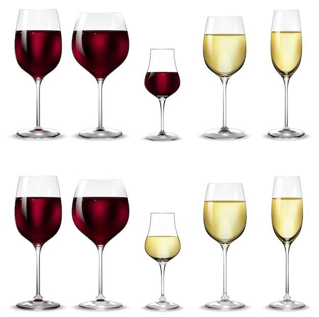 Vasos para vino blanco y tinto.