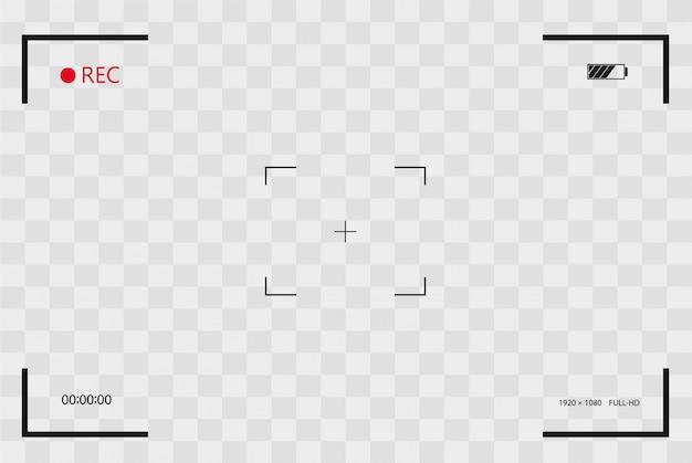 Vea el marco del buscador del marco de la cámara con pantalla digital vcr con marcos de fotos marcos de fotos con fondo transparente