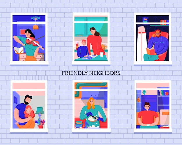 Vecinos amigables durante diversas actividades en ventanas de la casa en la ilustración de vector de pared de ladrillo gris