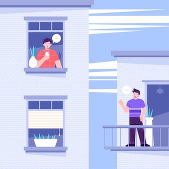 Vecinos en balcones concepto de cuarentena