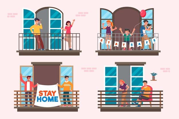 Vecinos en balcones ilustración