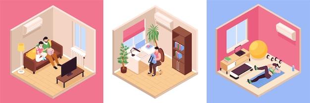 Vecinos y casa interior set ilustración.