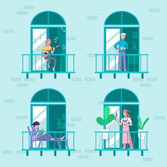 Vecinos en concepto de balcones