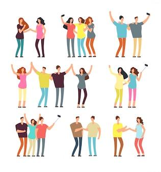Vecinos hombres y mujeres personajes. grupos de amigos. buen conjunto de gente amigable de dibujos animados de vector de barrio
