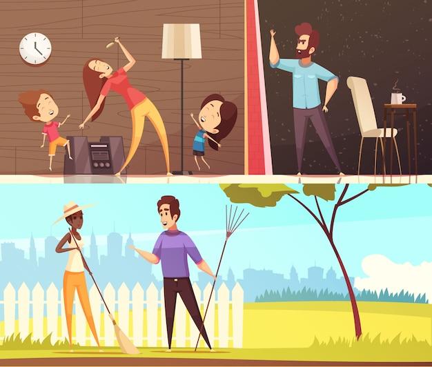 Vecinos ilustraciones horizontales