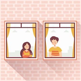 Vecinos pareja romántica enamorada en la ventana