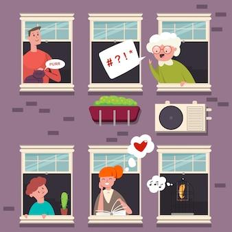 Vecinos en las ventanas. carácter de personas con un bocadillo de diálogo. ilustración plana de dibujos animados de hombre, mujer, abuela, niño, gato y pájaro en marco de madera en un edificio de ladrillo.