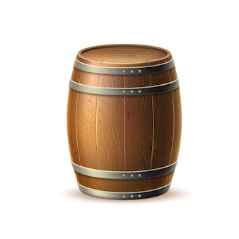 Vecot barril de madera realista, barril de roble para cervecería tradicional