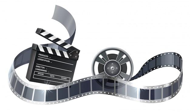 Vector 3d carrete de película o bobina con tira de película